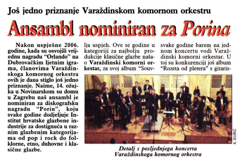 Varazdinske vijesti, 28.3.2007. str.14.